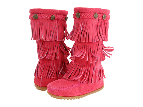 Minnetonka Kids 3-Layer Fringe Boot (Toddler/Little Kid/Big Kid) - Hot Pink Suede