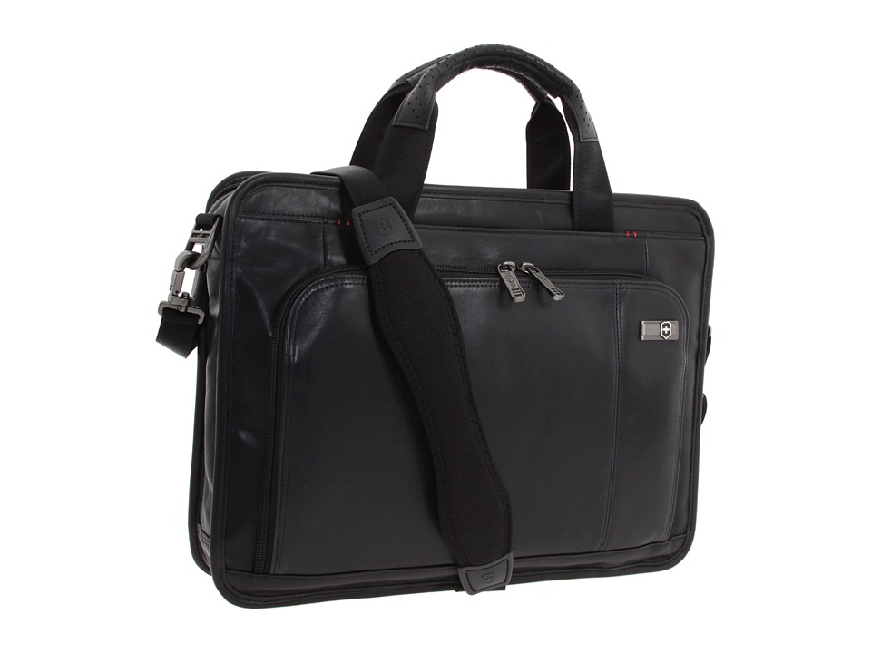 Victorinox - Architecture 3.0 - Wainwright 15 Leather Slimline Laptop Brief (Black) Computer Bags