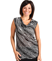 Jones New York - Petite Sleeveless Space Dye Drape Neck Top