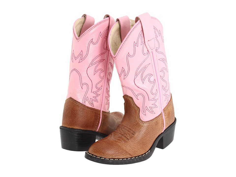 Old West Kids Boots - J Toe Western Boot (Toddler/Little Kid) (Tan Canyon/Pink) Cowboy Boots