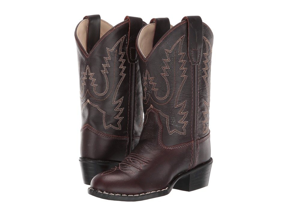 Old West Kids Boots - Round Toe Western Boot (Toddler/Little Kid) (Oiled Rust) Cowboy Boots