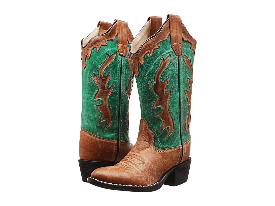 Old West Kids Boots Fashion Western Boot Toddler/Little Kid Tan Canyon/Vintage Turquoise Cowboy Boots