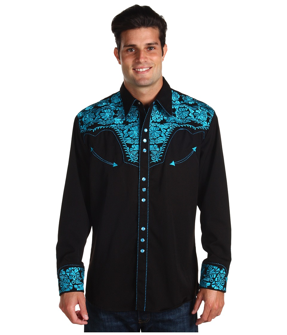 Scully Floral Tooled Shirt (Turquoise) Men's Long Sleeve ...