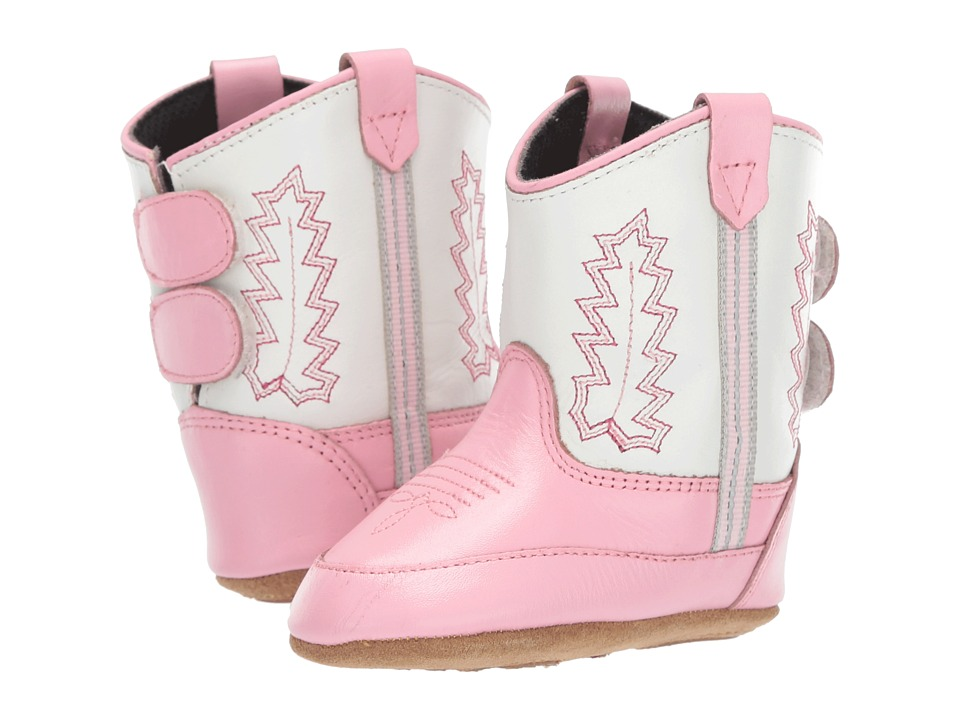 Old West Kids Boots - Poppets (Infant/Toddler) (Pink/White) Cowboy Boots