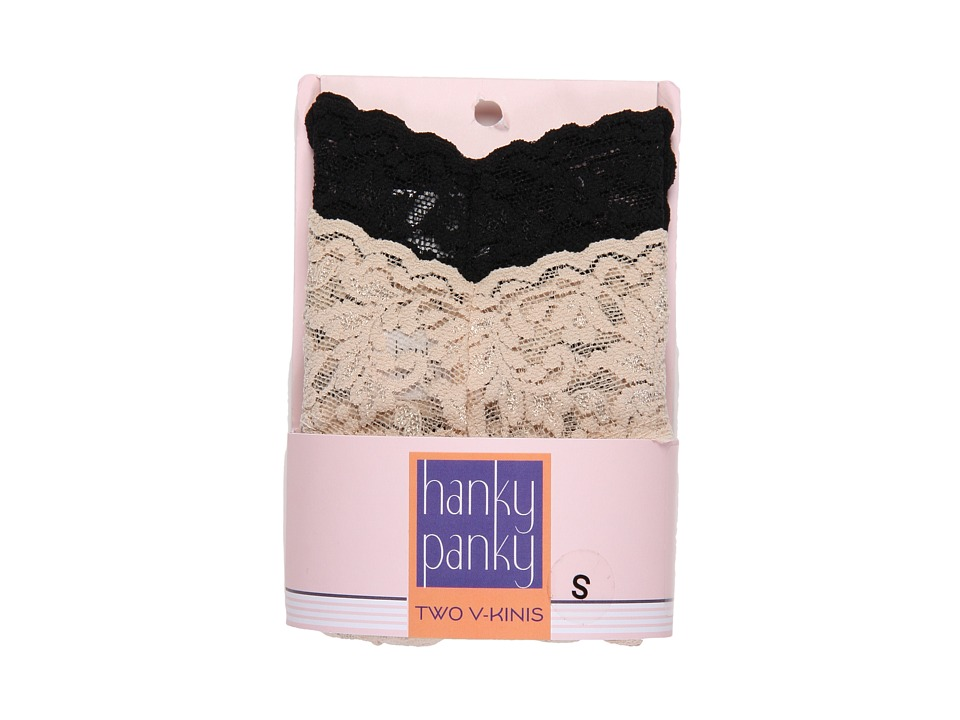 Hanky Panky Signature Lace V Kini 2 Pack Black/Chai Womens Underwear