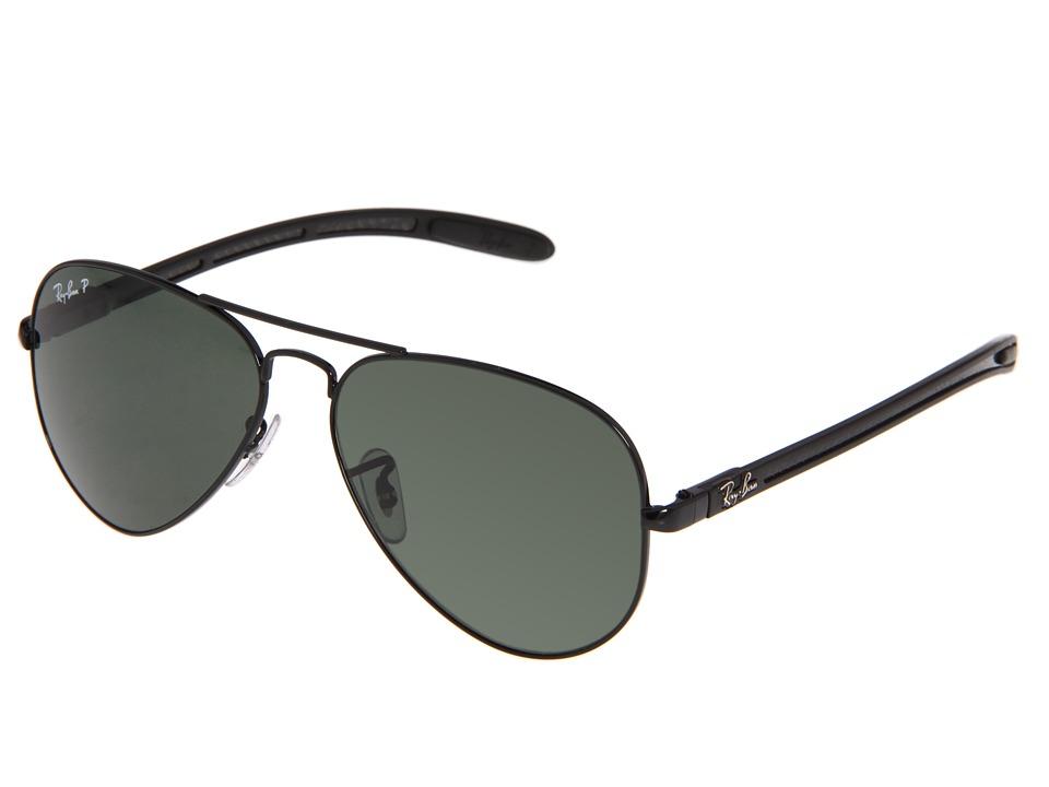 Ray Ban RB8307 Aviator Tech Polarized 58 Black/Crystal Green Metal Frame Fashion Sunglasses
