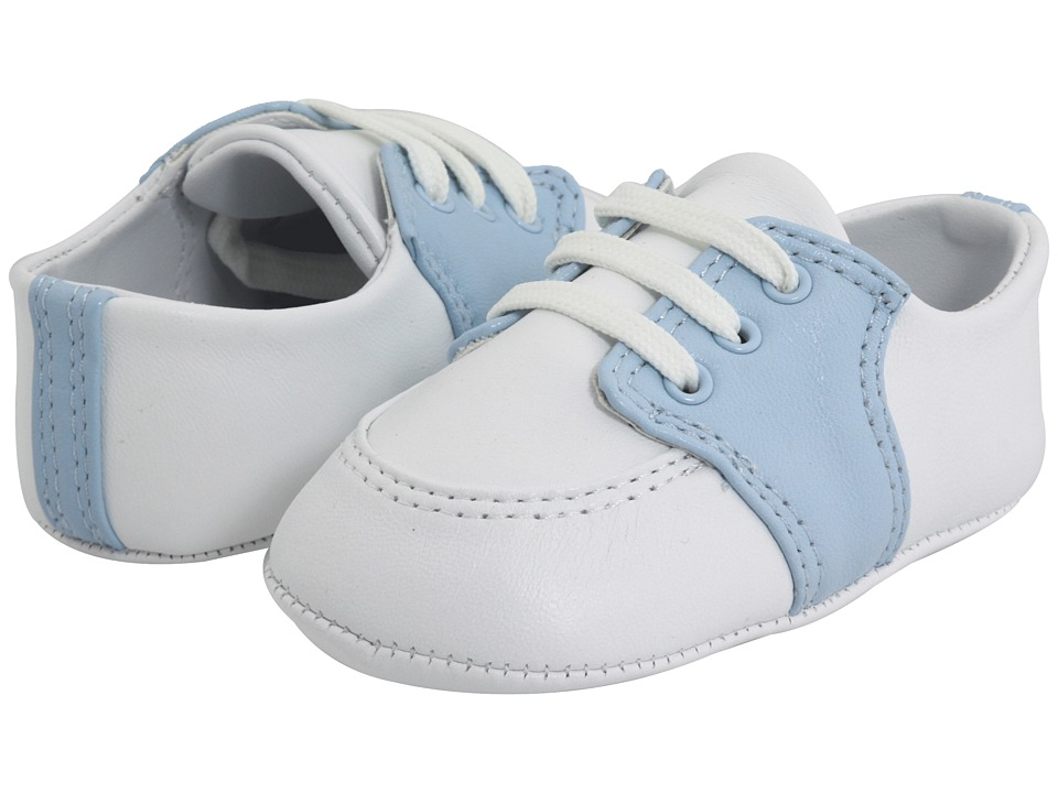 Baby Deer Conner Infant White/Light Blue Leather Boys Shoes