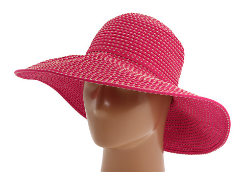 San Diego Hat Company RBL205 Ribbon Crusher Hat with Ticking Sun Hat - Fuchsia