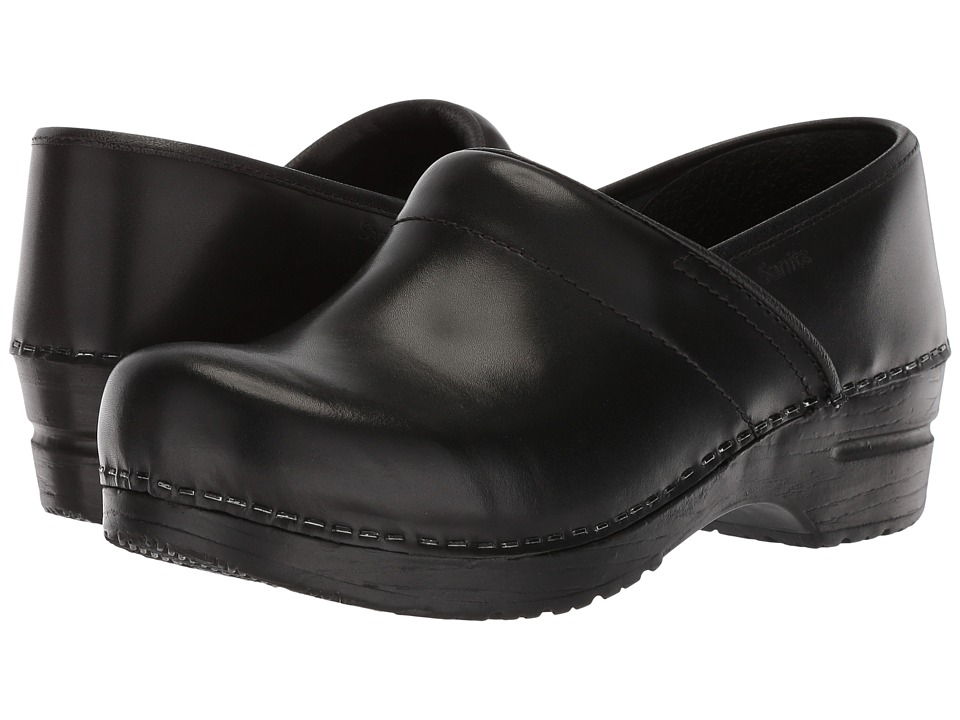 Sanita - Professional Cabrio (Black Brush Off Leather) Womens Clog Shoes