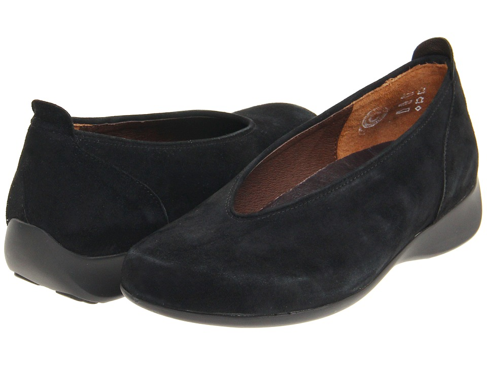 Wolky Ballet Black Goat Suede Womens Slip on Shoes
