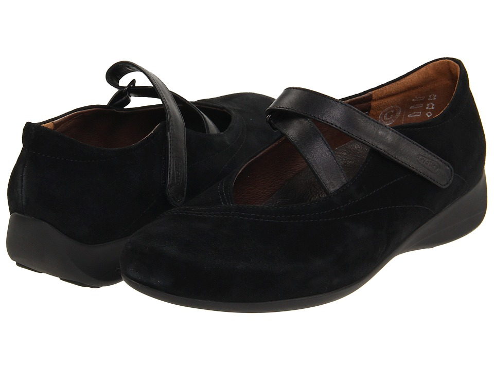 Wolky Passion Black Goat Suede Womens Flat Shoes