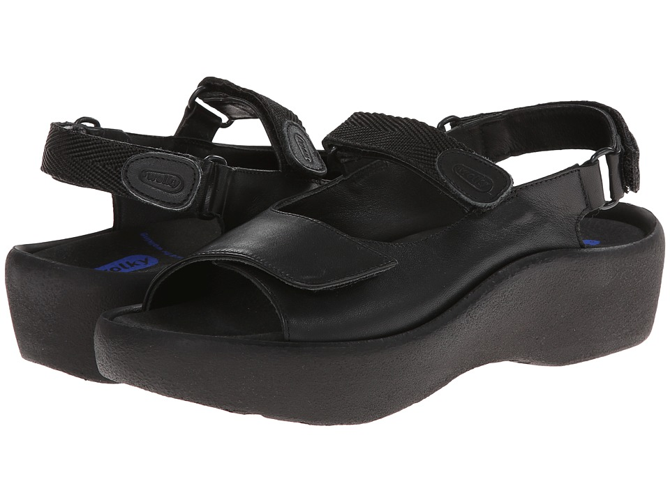 Wolky - Jewel (Black Smooth Leather) Women's Hook and Loop Shoes