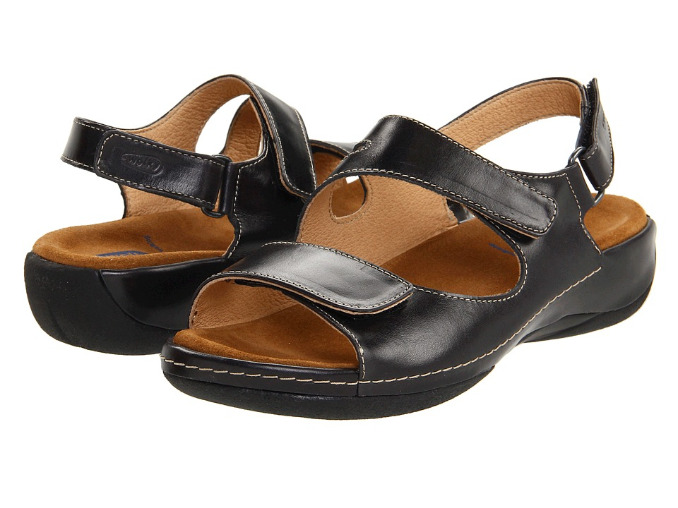 Wolky Liana (Black Smooth Leather) Sandals