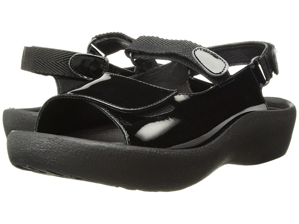 Wolky Jewel (Black Patent Leather) Women's Hook and Loop Shoes