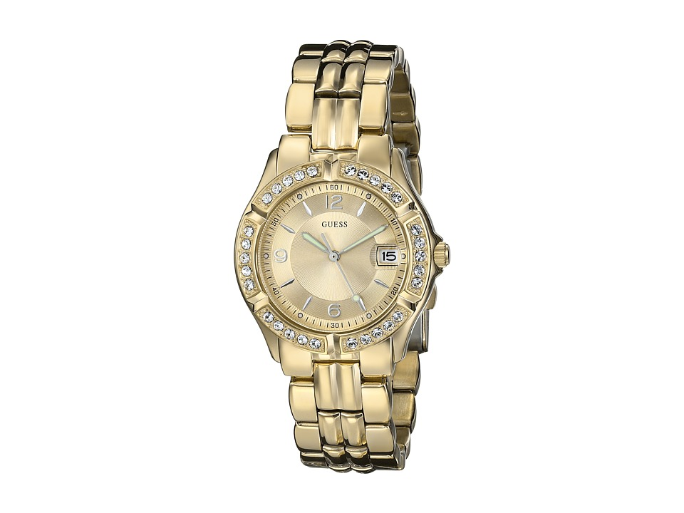 GUESS - U85110L1 Dazzling Sporty Mid-Size Watch (Champagne/Gold) Sport Watches