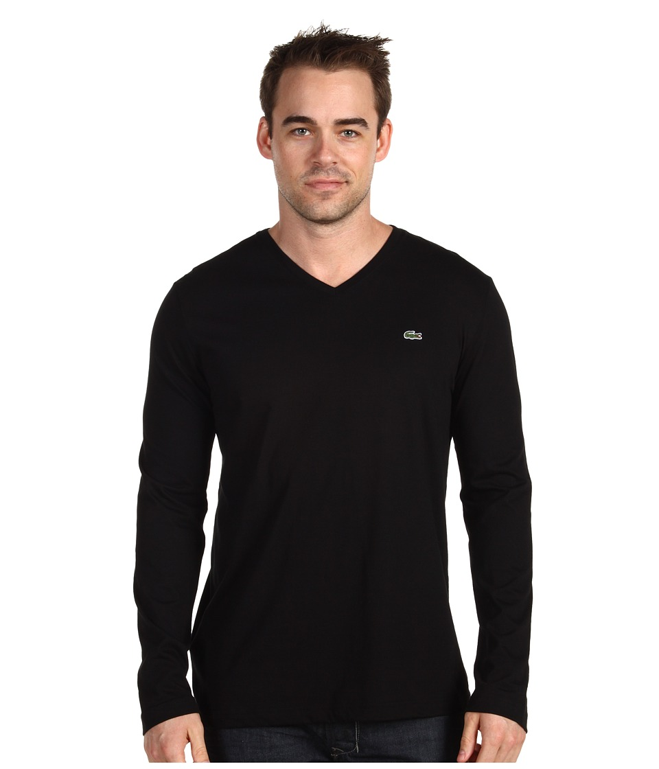 Lacoste Long Sleeve Pima Jersey V-Neck T-Shirt (Black1) Men