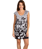 BCBGMAXAZRIA - Petite Printed Poplin Shirred Top Dress