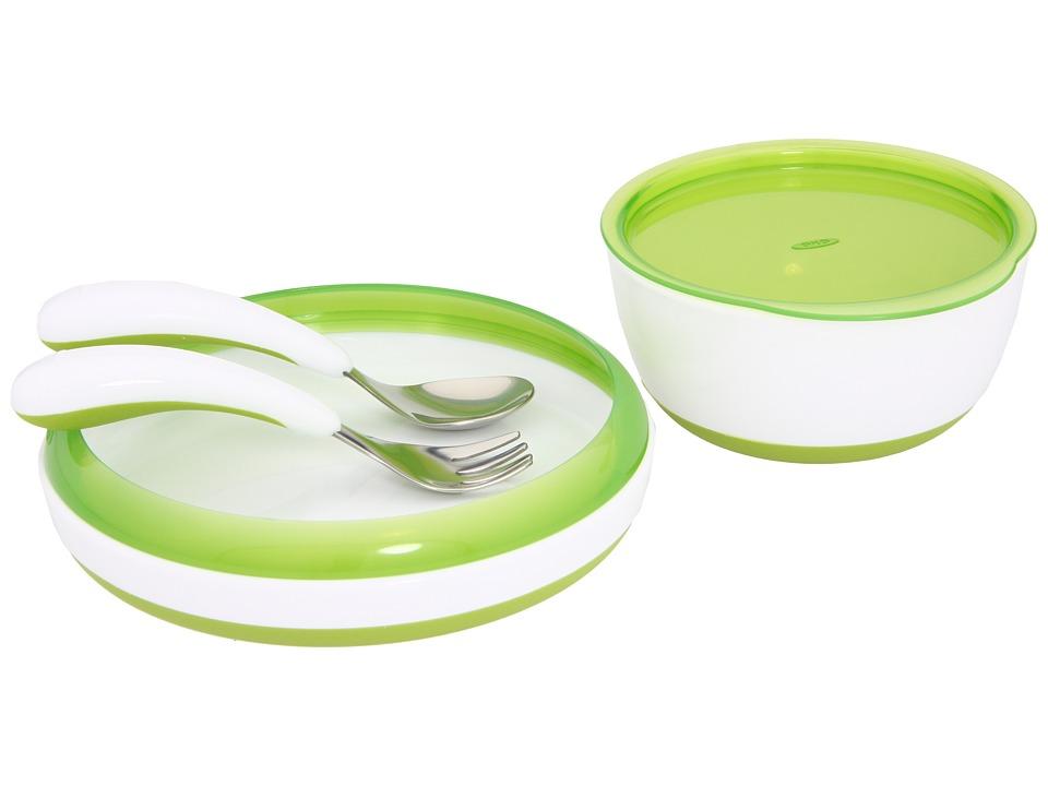 OXO tot 4 Piece Tot Feeding Set Green Dinnerware Cookware