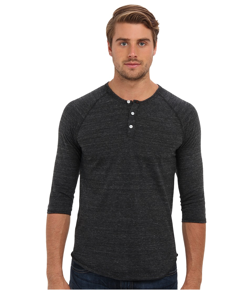 Alternative 3/4 Raglan Henley Eco Black Mens Long Sleeve Pullover