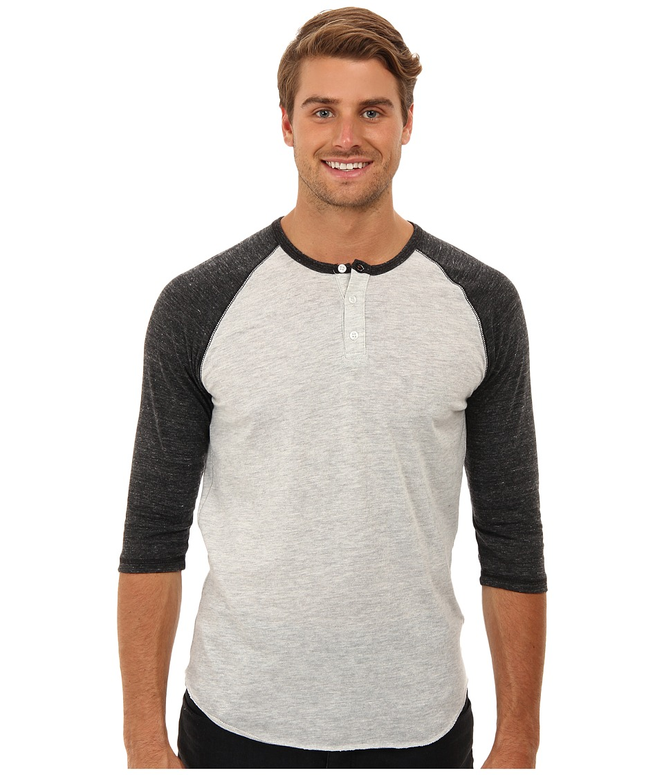 Alternative 3/4 Raglan Henley Eco Oatmeal/Eco Black Mens Long Sleeve Pullover