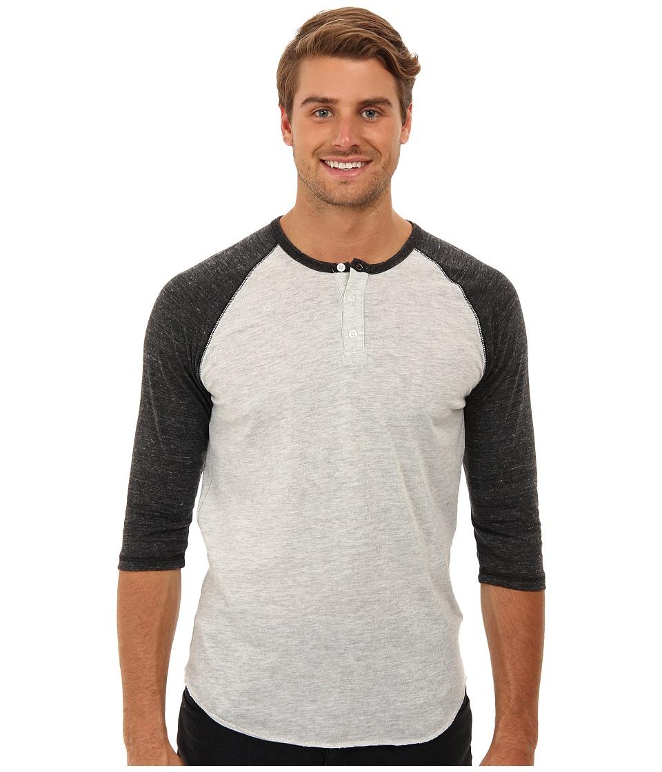 Image of Alternative - 3/4 Raglan Henley (Eco Oatmeal/Eco Black) Men's Long Sleeve Pullover