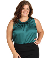Anne Klein Plus - Plus Size Sleeveless Blouse w/ Novelty Neckline