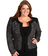 Anne Klein Plus - Plus Size Texture Jewel Neck Jacket