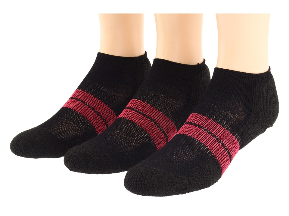 Thorlos 84N Micro Mini 3 Pair Pack Black/Dark Pink Womens Low Cut Socks Shoes