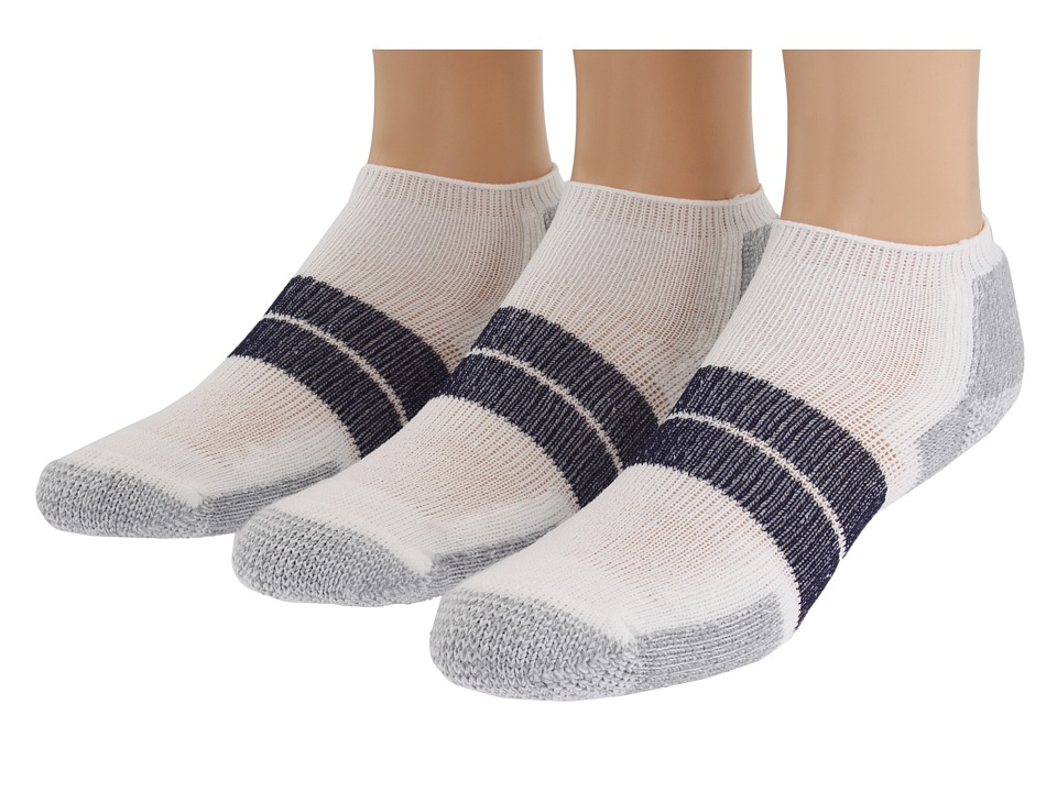 Thorlos 84N Micro Mini 3 Pair Pack White/Navy Mens No Show Socks Shoes