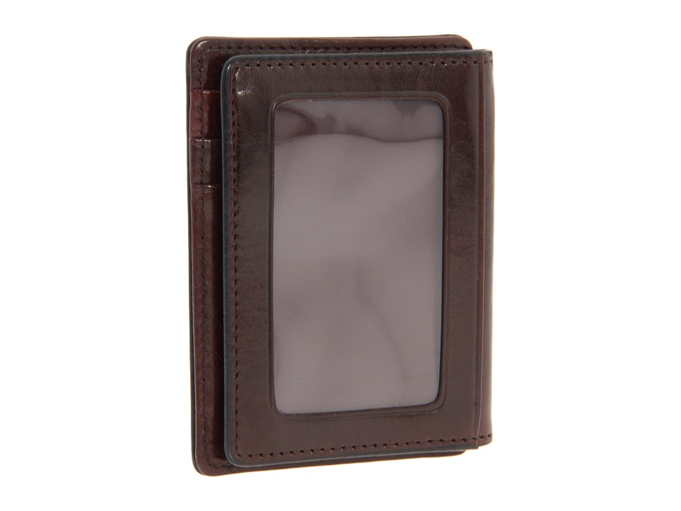 Bosca Old Leather Collection Front Pocket Wallet Dark Brown Leather Bill fold Wallet