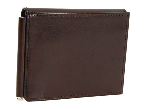 Bosca Old Leather Collection - Money Clip w/ Pocket - Dark Brown Leather