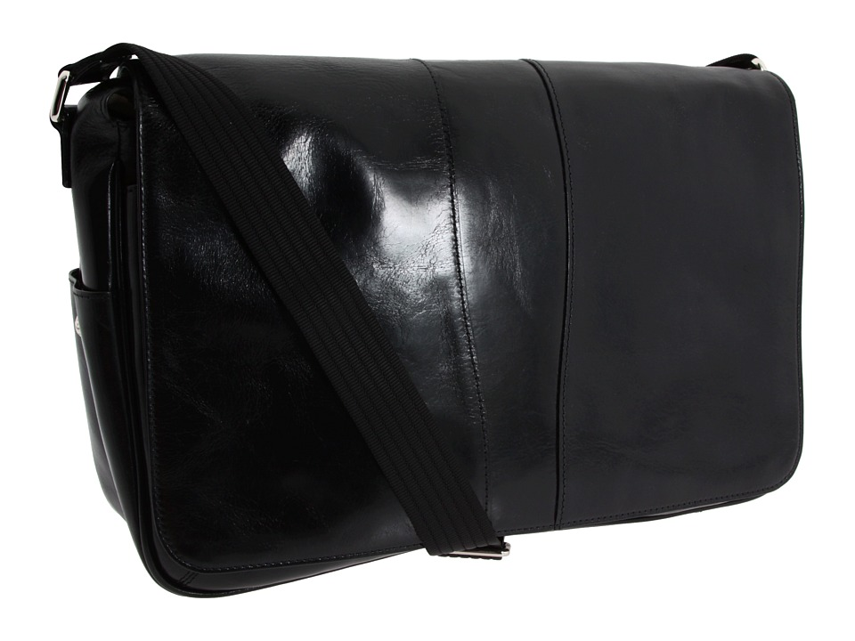 Bosca Old Leather Collection Messenger Bag (Black Leather) Messenger Bags