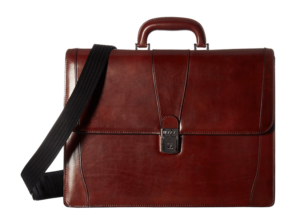 Bosca Old Leather Collection Double Gusset Briefcase (Dark Brown Leather) Briefcase Bags