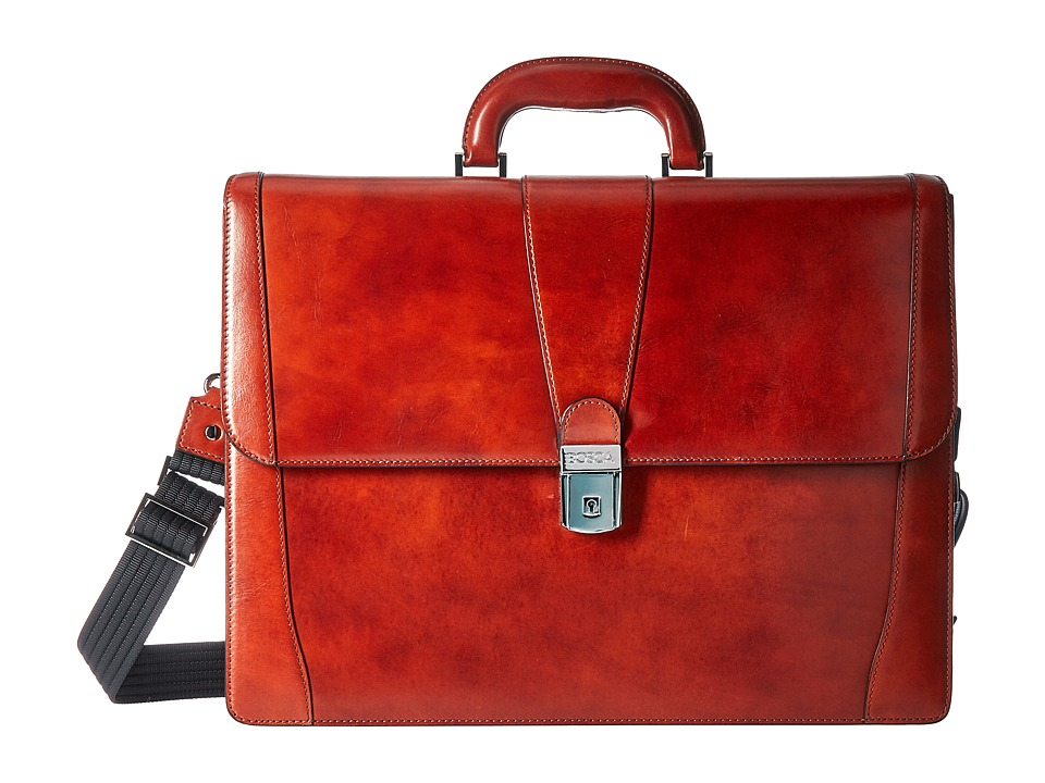 Bosca Old Leather Collection Double Gusset Briefcase (Cognac Leather) Briefcase Bags