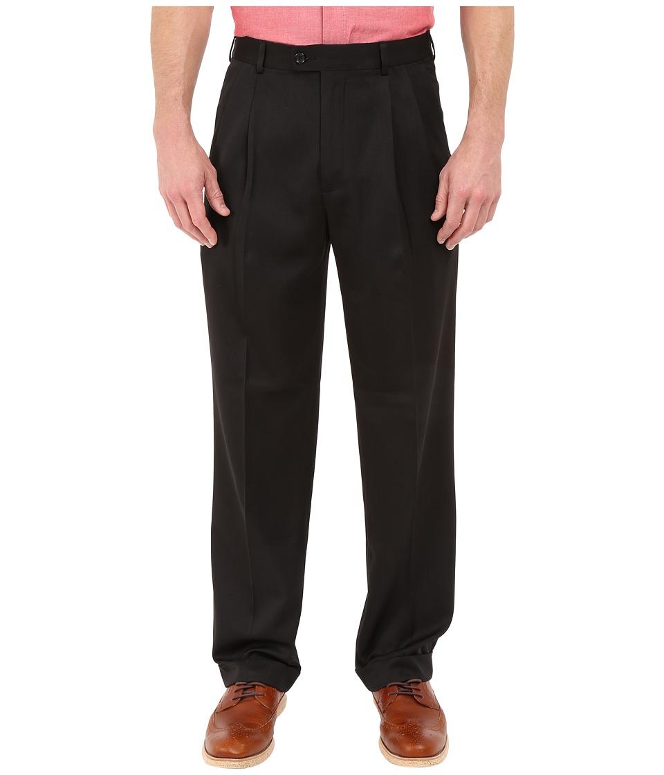Perry Ellis Portfolio Classic Fit Double Pleat Micro Melange Pant Caviar Mens Casual Pants