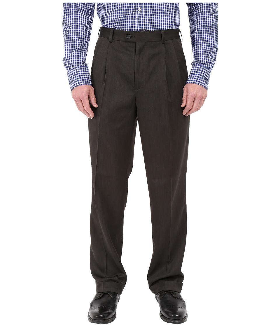 Perry Ellis Portfolio Classic Fit Double Pleat Micro Melange Pant Charcoal Mens Casual Pants