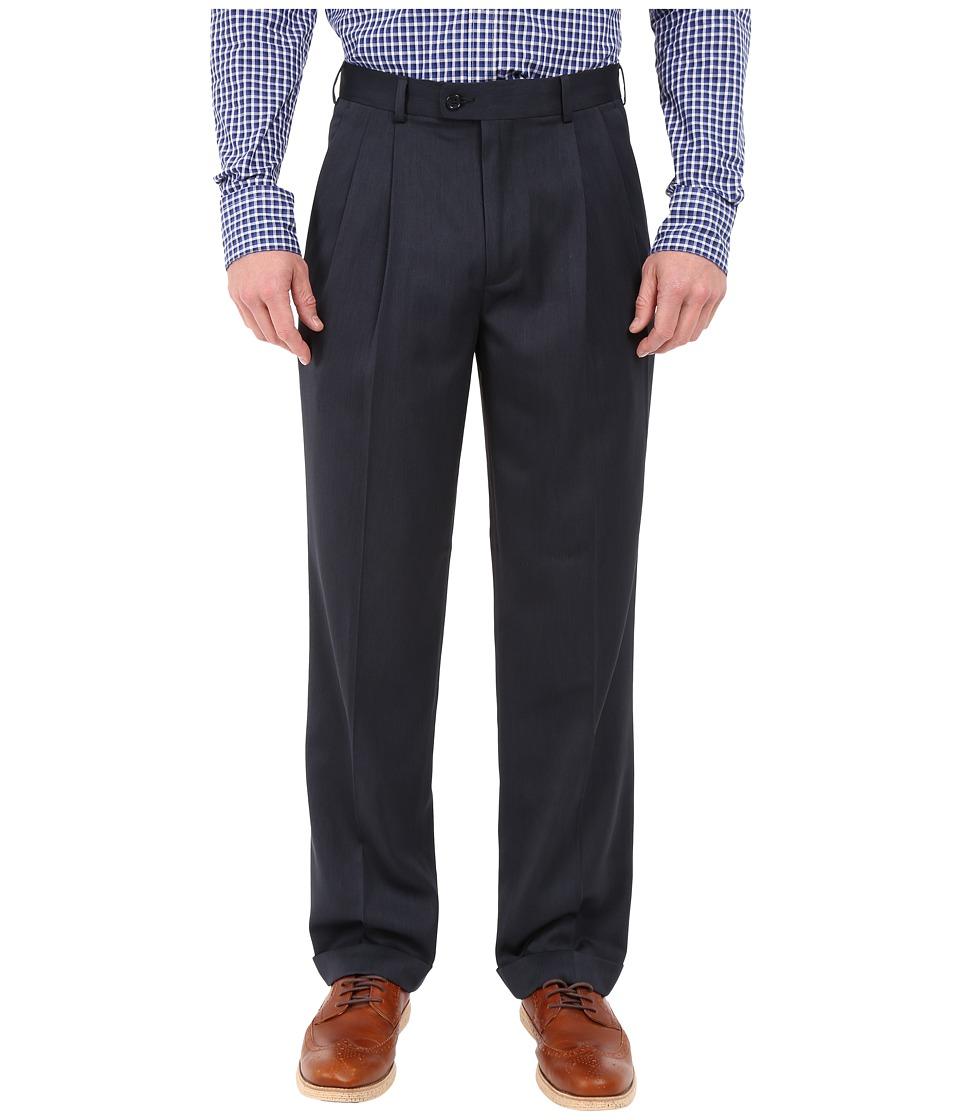 Perry Ellis Portfolio Classic Fit Double Pleat Micro Melange Pant Twilight Mens Casual Pants