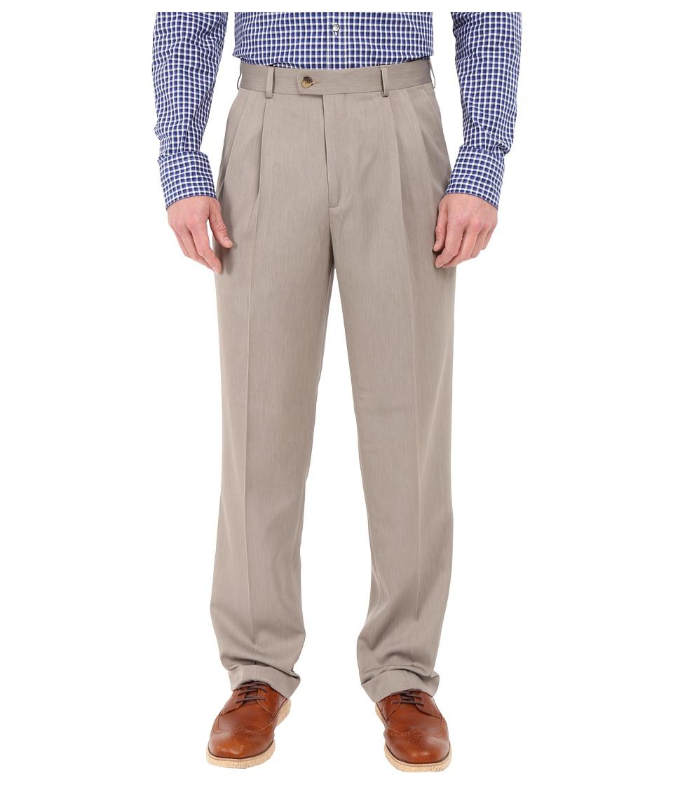 Perry Ellis Portfolio Classic Fit Double Pleat Micro Melange Pant Simply Taupe Mens Casual Pants