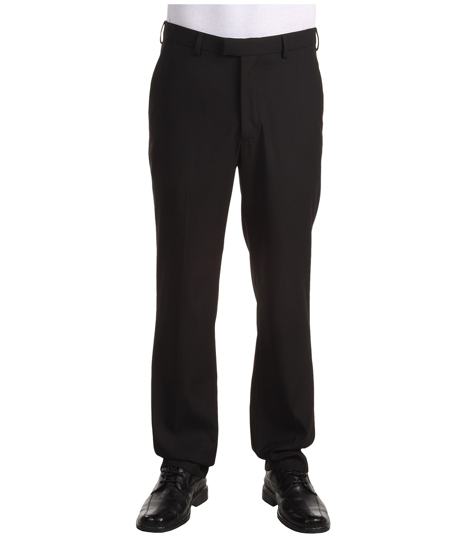 Perry Ellis Portfolio - Modern Fit Flat Front Bengaline Pant (Black Ice) Mens Dress Pants