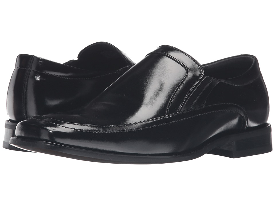 Stacy Adams - Felton Moc Toe Double (Black) Mens Slip-on Dress Shoes