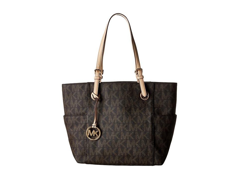 MICHAEL Michael Kors MK Logo East/West Signature Tote (Brown) Tote Handbags
