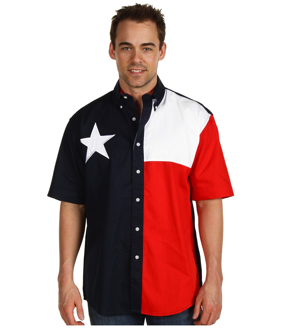 Roper - S/S Pieced Texas Flag Shirt (Natural) Mens Clothing