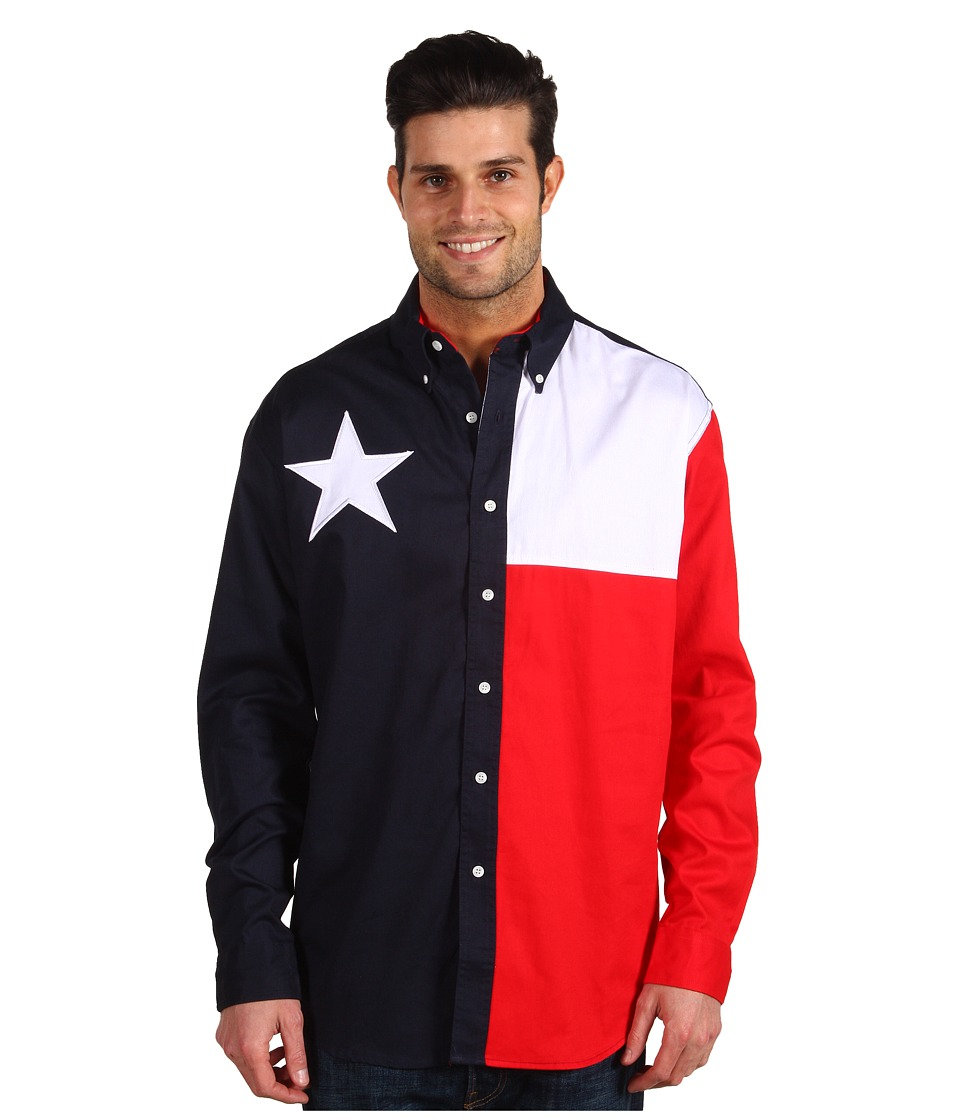 Roper - L/S Pieced Texas Flag Shirt (Natural) Mens Clothing