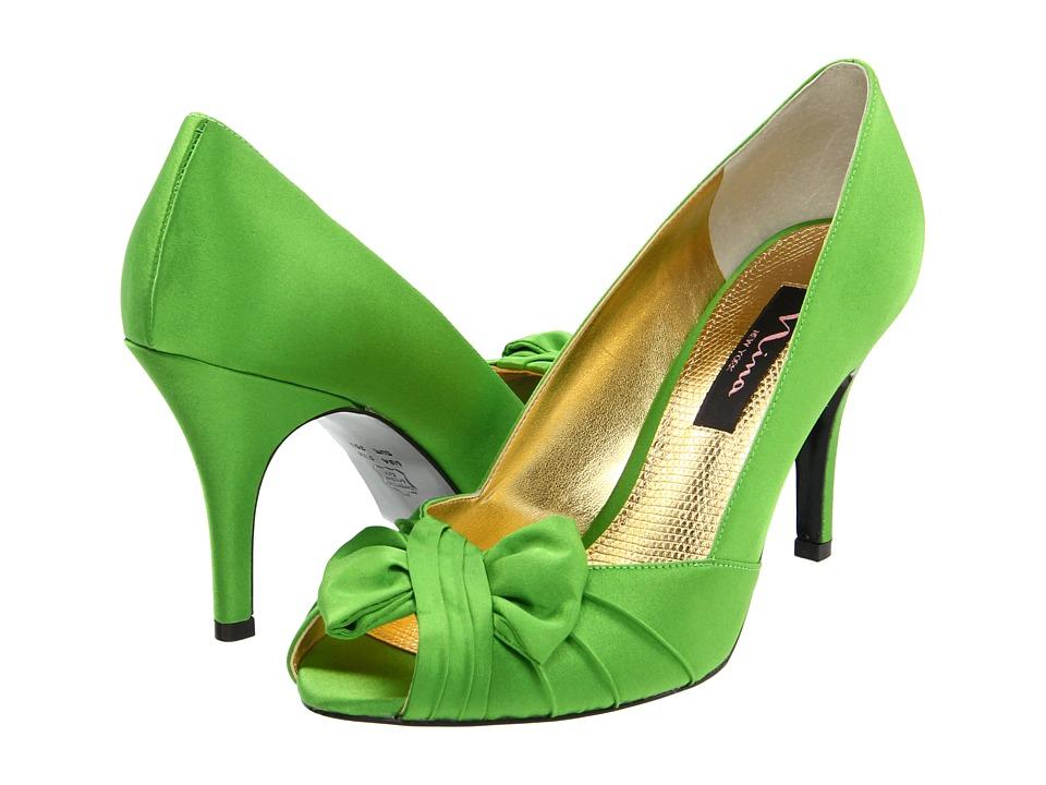 Nina - Forbes Apple Green Satin Womens Slip-on Dress Shoes $78.95 AT vintagedancer.com