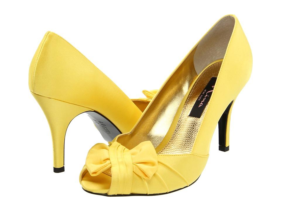 Nina - Forbes Canary Satin Womens Slip-on Dress Shoes $78.95 AT vintagedancer.com