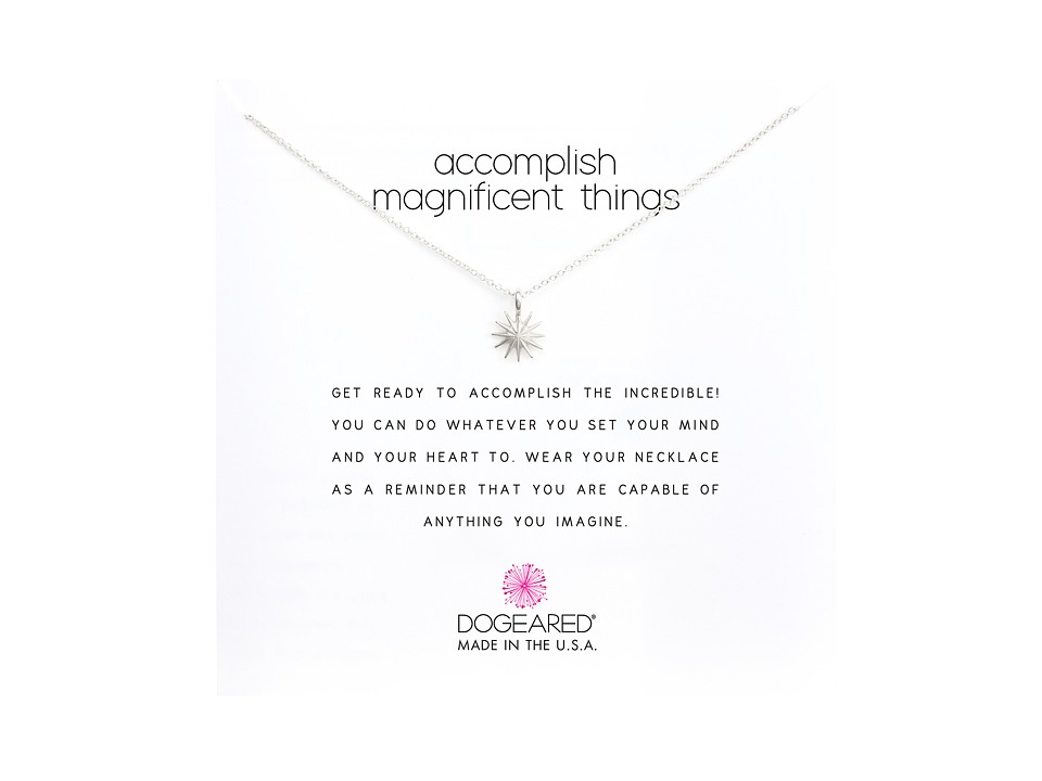 Dogeared - Accomplish Magnificent Things Necklace 16 (Silver) Necklace