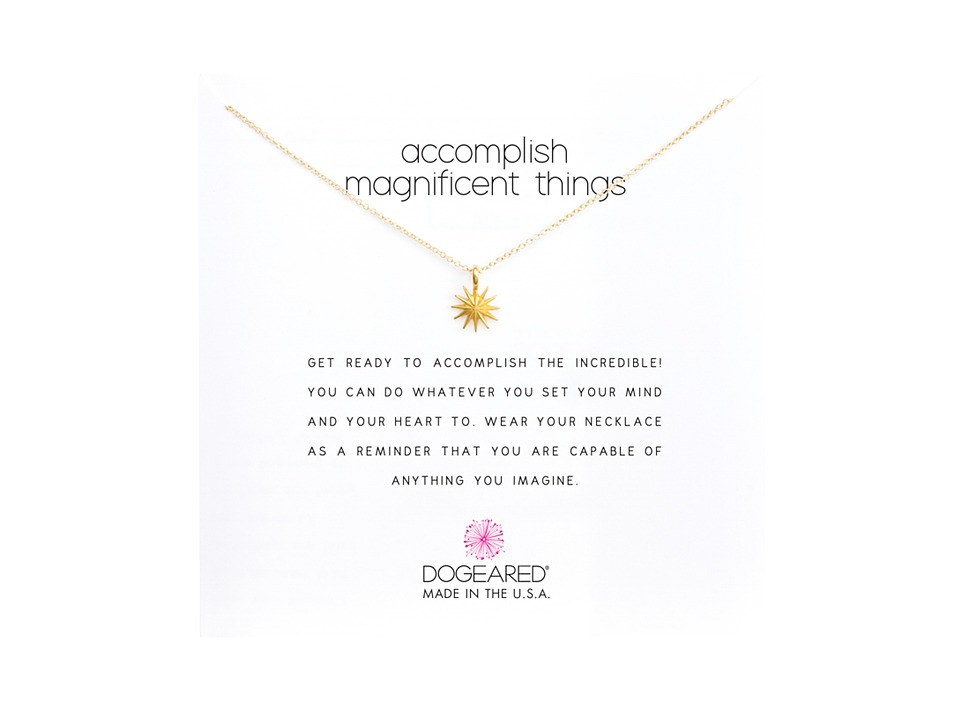 Dogeared Accomplish Magnificent Things Necklace 16 Gold Necklace