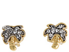 Juicy Couture - Fresh Picked Pave Palm Tree Studs (Gold) - Jewelry