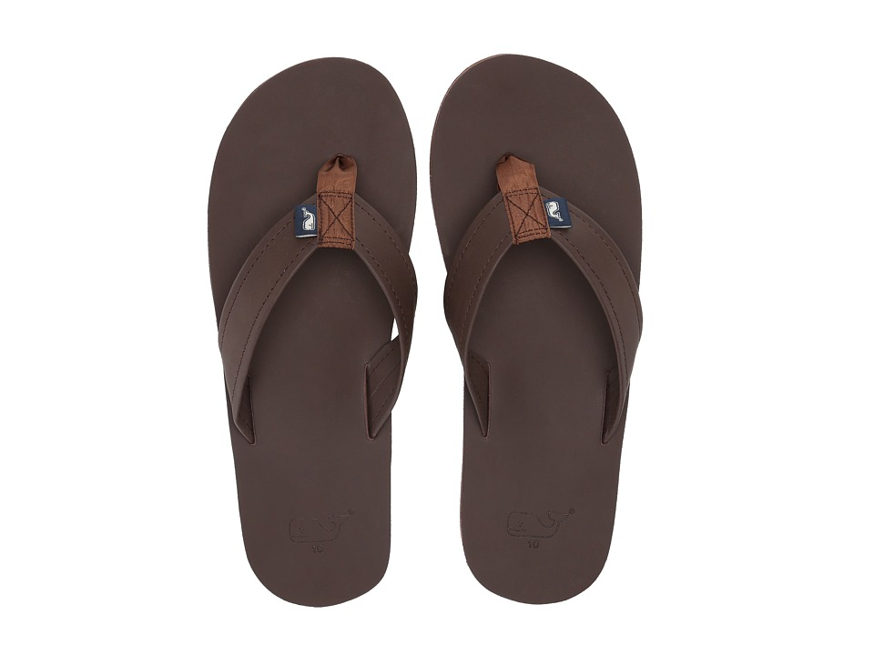 Vineyard Vines - Leather Flip Flops (Mudslide) Sandals