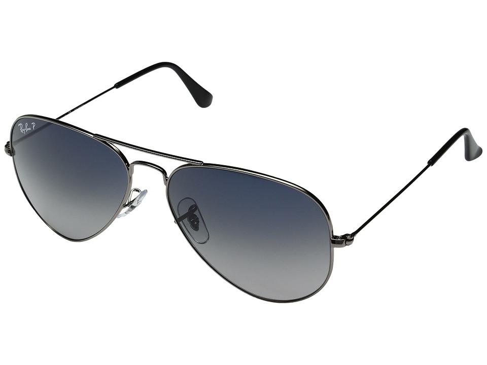 Ray-Ban - RB3025 Aviator 58mm Large Metal Polarized (Grey Blue/Gunmetal) Metal Frame Fashion Sunglasses
